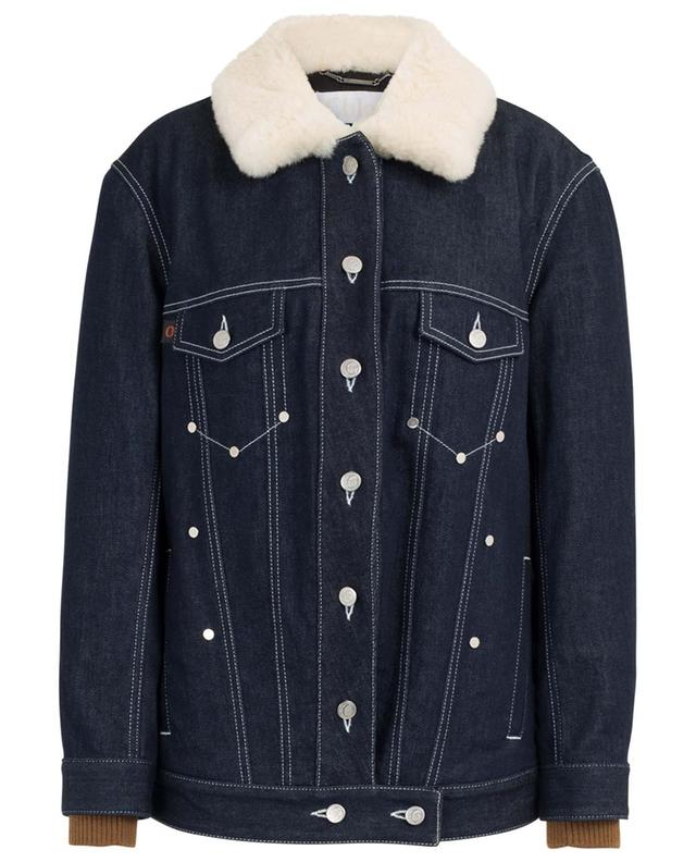 Oversized padded jeans jacket with shearling collar CHLOE