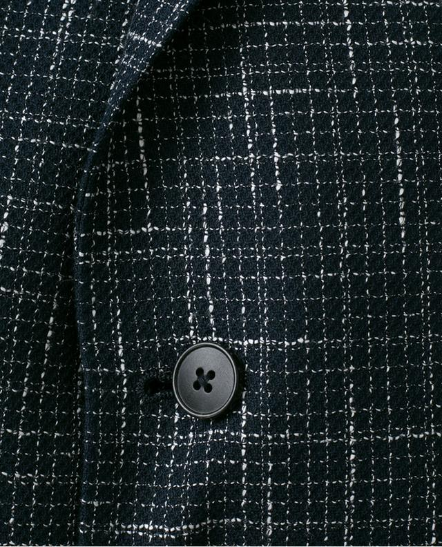 Checked cotton and linen blend blazer Z ZEGNA