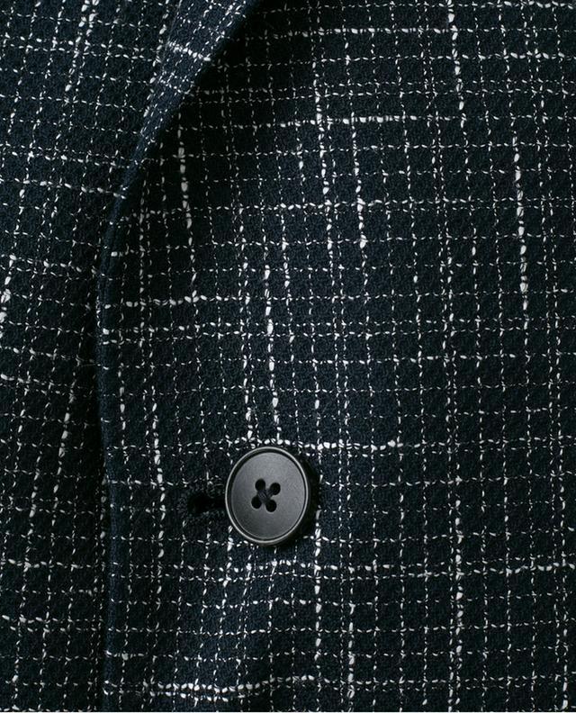 Checked cotton and linen blend blazer Z ZEGNA