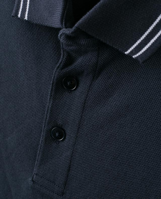 Stripe detail piqué cotton polo shirt Z ZEGNA