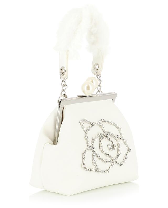 Faux leather bag with glittering rose MONNALISA
