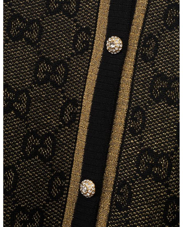 Kurzer schwarz-goldener Cardigan GG Lamé GUCCI