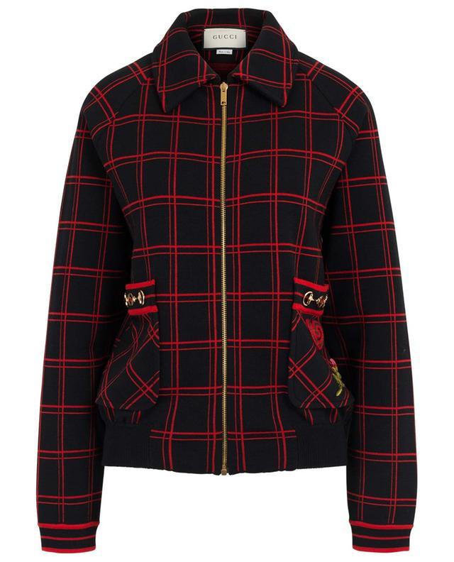 Bomber tricot à carreaux GG patch Horsebit GUCCI