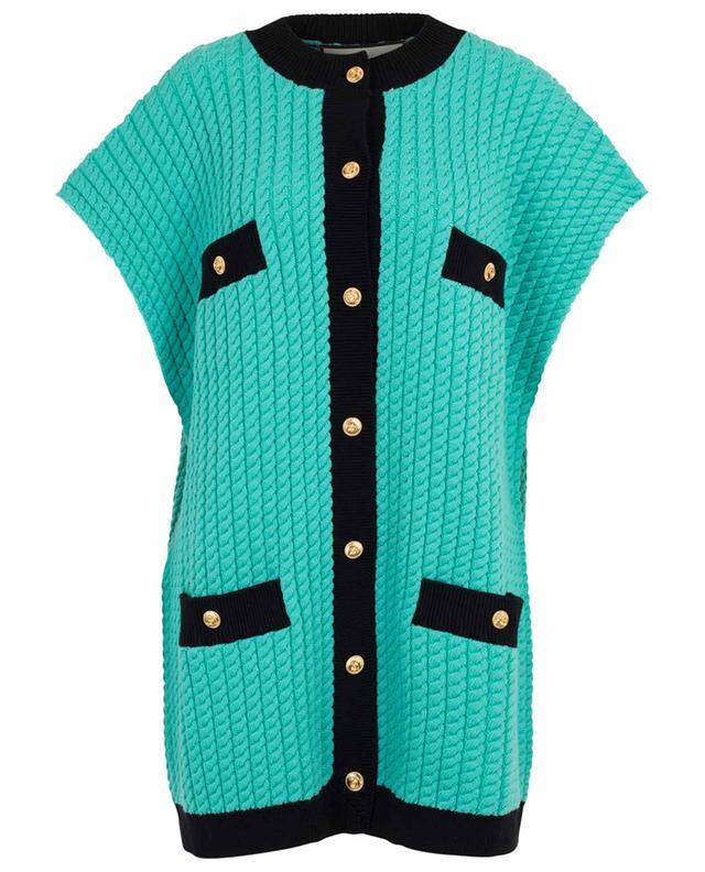 GG bicolour cable knit overize vest GUCCI