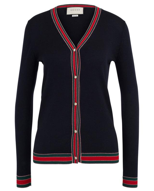 Web Lamé V-neck fine knit cardigan GUCCI