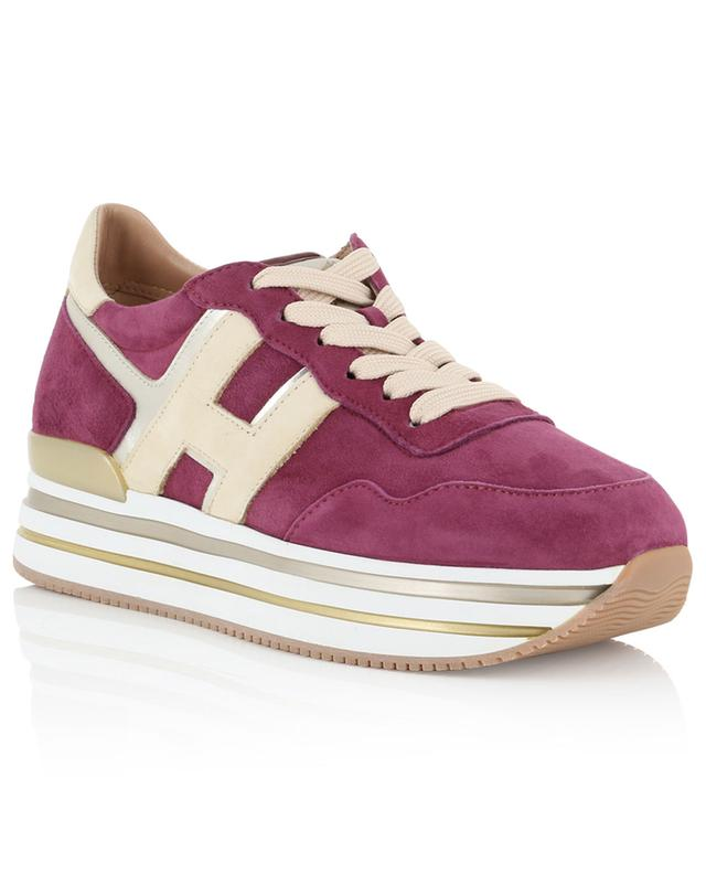 New H222 suede and metallic leather platform sneakers HOGAN