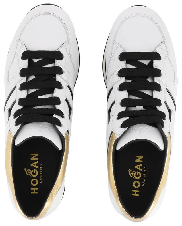 Baskets en cuir blanc et doré H222 HOGAN