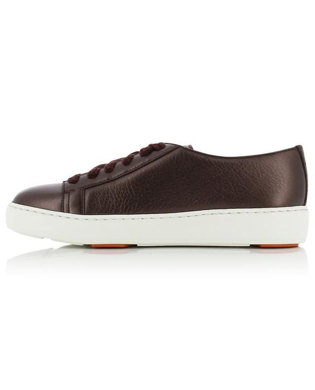 Grained metallic leather lace-up sneakers SANTONI