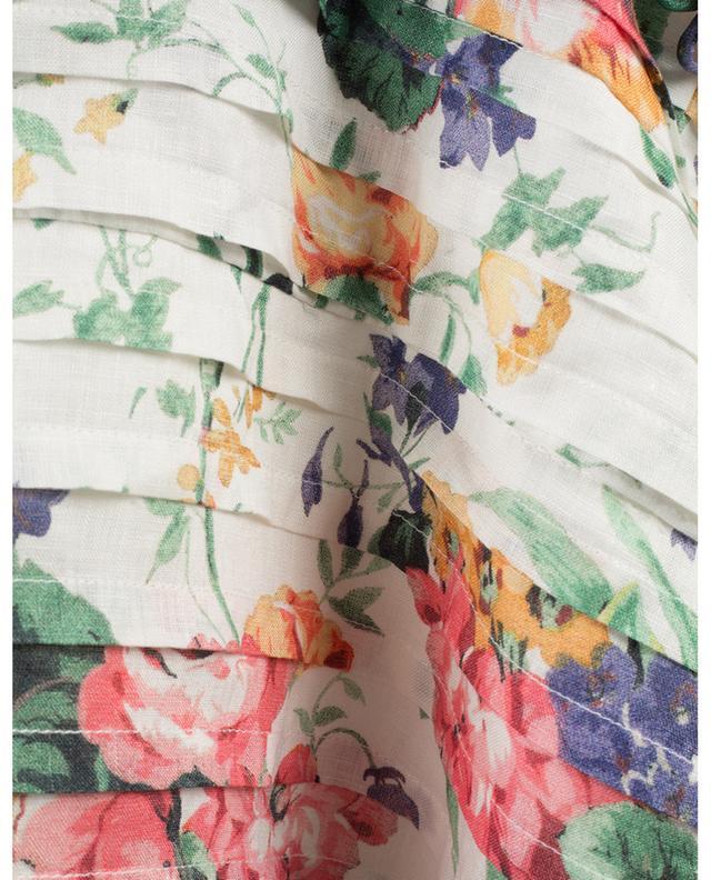 Robe fleurie épaules nues en lin Allia ZIMMERMANN
