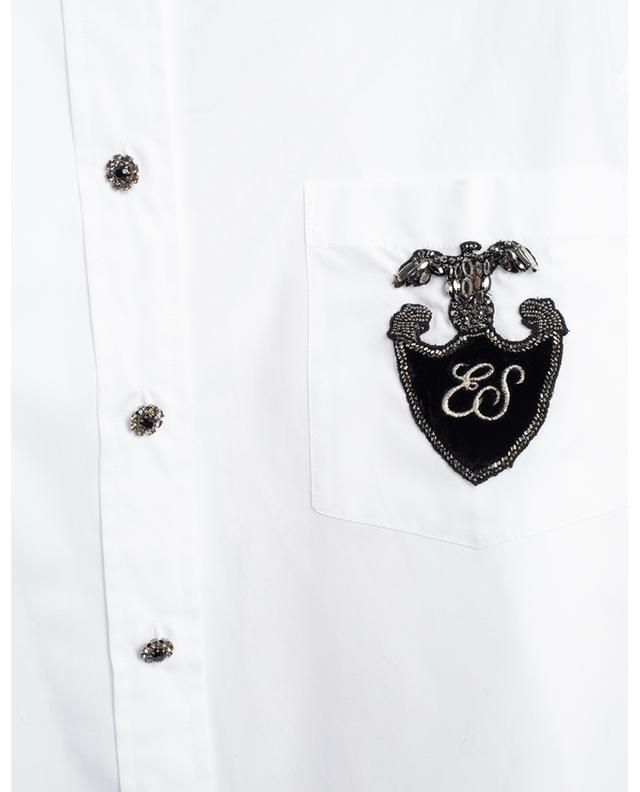 Oversized shirt with sparkling crest patch ERMANNO SCERVINO