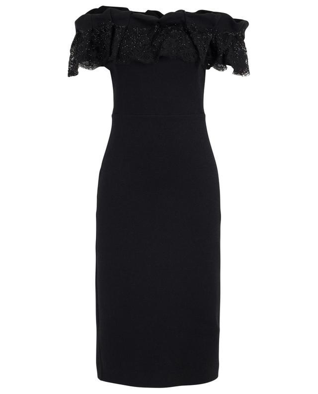 Off-shoulder wool, silk and cashmere dress ERMANNO SCERVINO