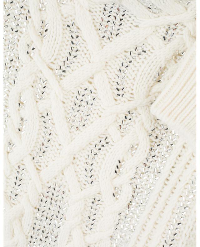 Strass adorned virgin wool cable knit jumper ERMANNO SCERVINO