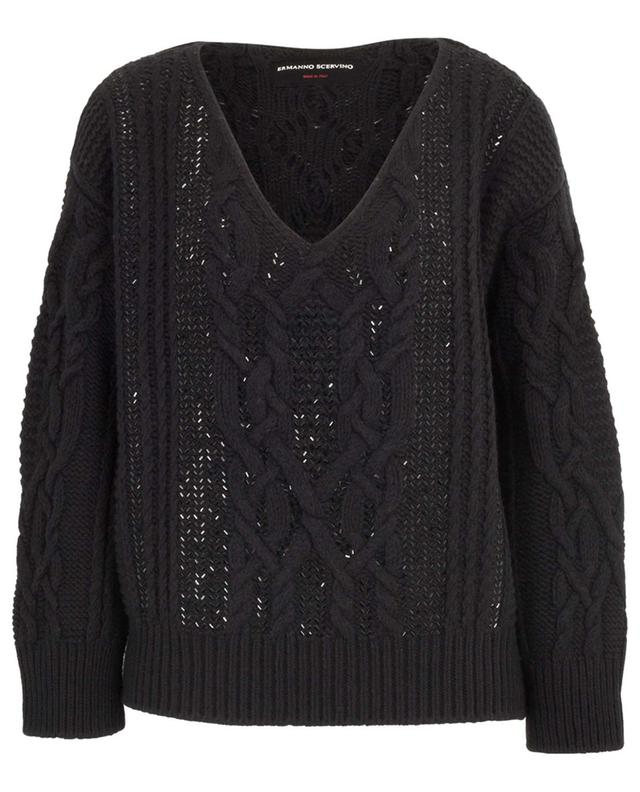 Strass adorned cable knit V-neck jumper ERMANNO SCERVINO