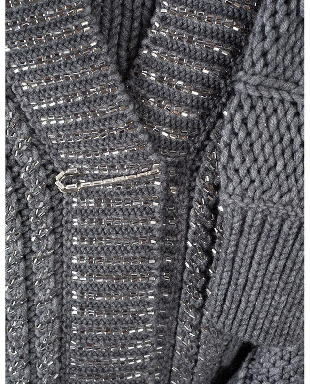 Strass adorned cable knit virgin wool cardigan ERMANNO SCERVINO