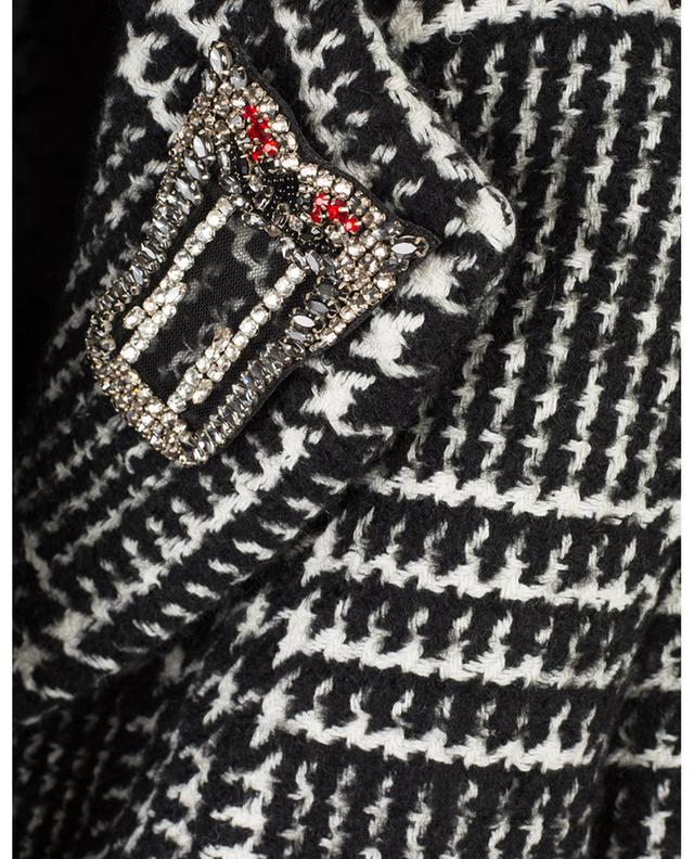 Oversized macro glen check coat with brooch ERMANNO SCERVINO