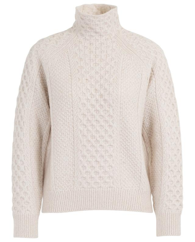Cable knit jumper with mock collar VINCE
