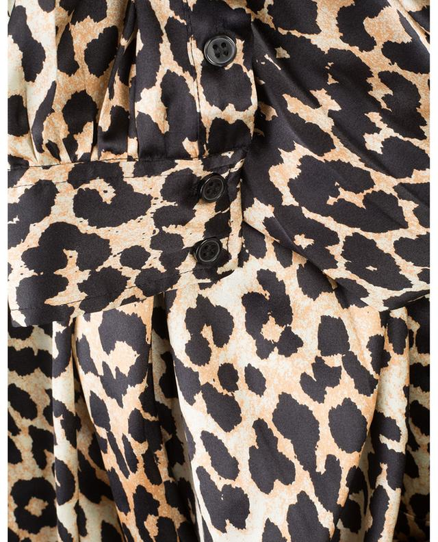 Long leopard print satin wrap dress GANNI