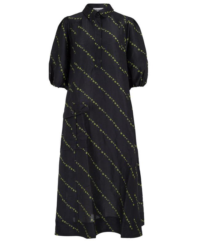 Robe chemise oversize fleurie en lin et soie GANNI