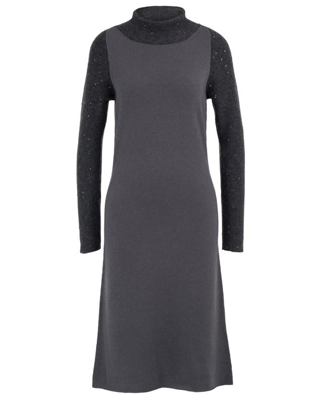 Midi-length sequined knit bi-material dress FABIANA FILIPPI
