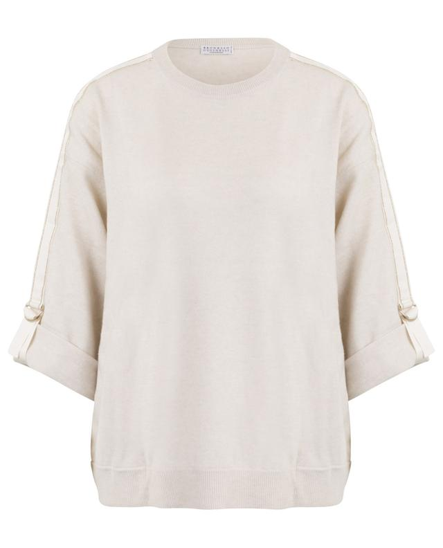 Cashmere jumper with embroidered sleeves BRUNELLO CUCINELLI