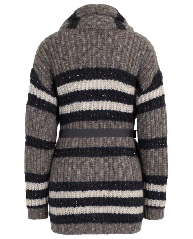Striped virgin wool and cashmere blend cardigan BRUNELLO CUCINELLI