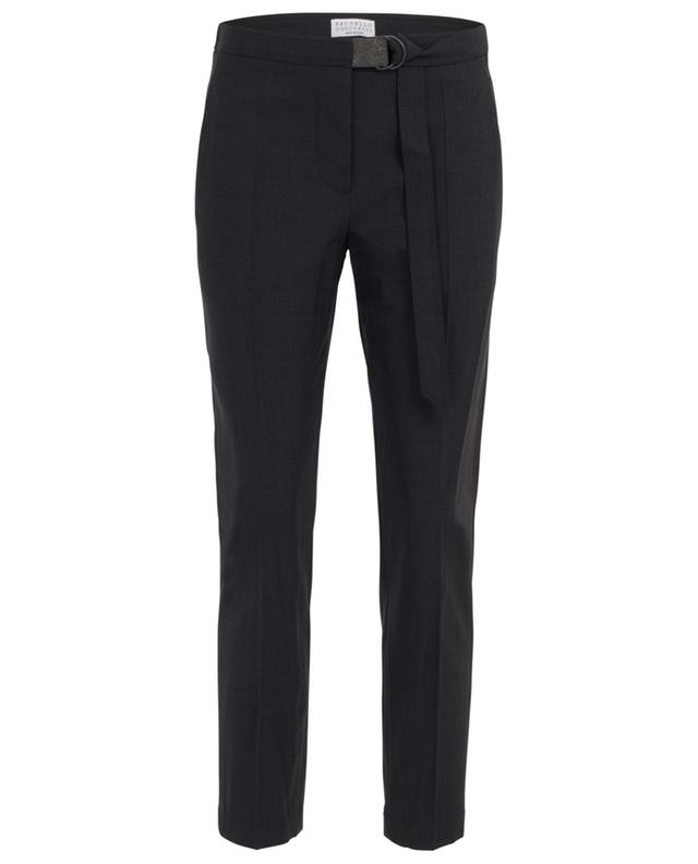 Monile detail cropped flowy wool trousers BRUNELLO CUCINELLI