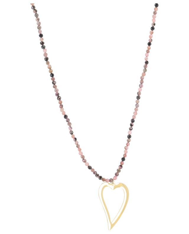 Sautoir en pierres avec pendentif coeur MOON C° PARIS