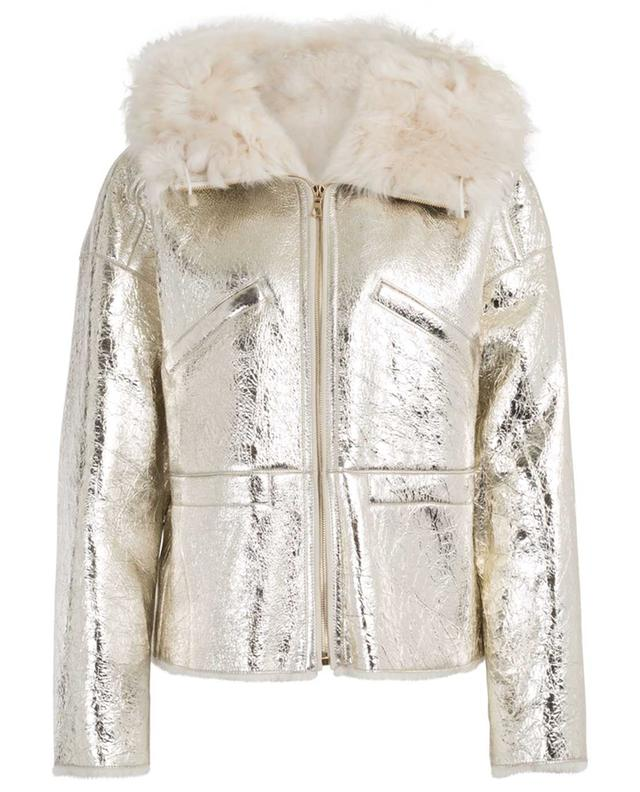 Light Gold metallic merino shearling jacket YVES SALOMON