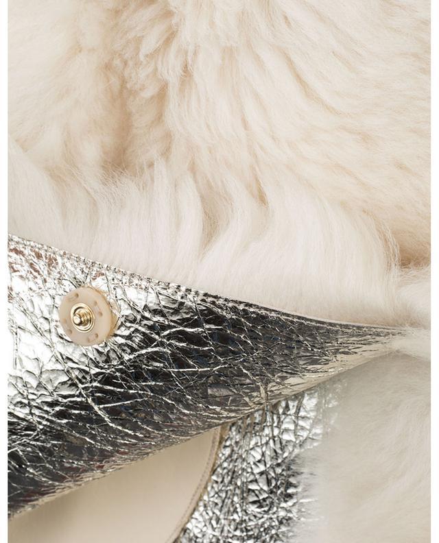 Gilet en peau lainée métallique Light Gold YVES SALOMON