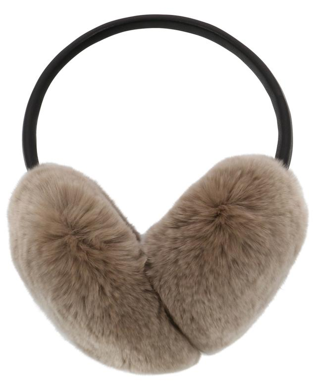 Cache-oreilles en fourrure de lapin et cuir YVES SALOMON