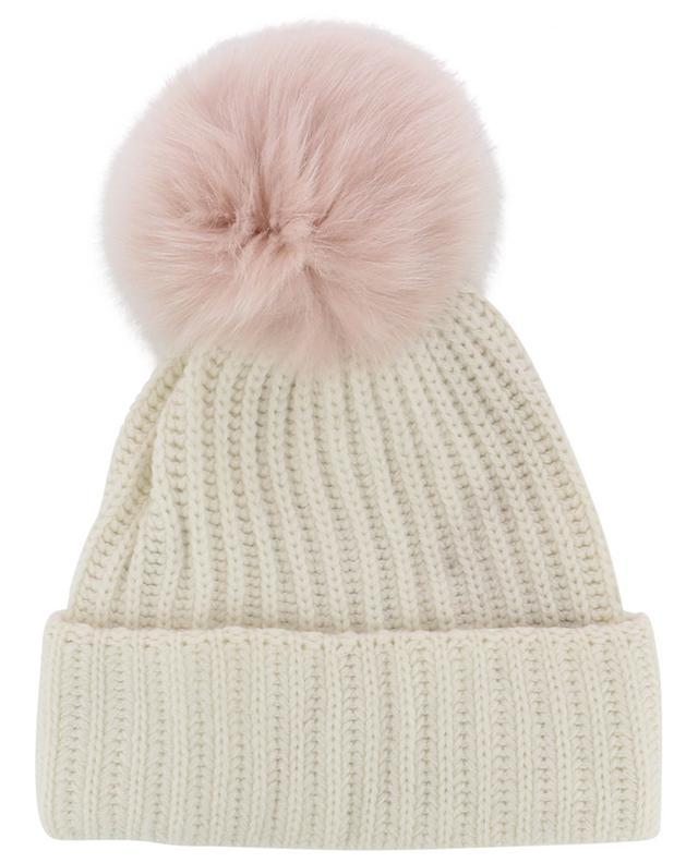 Bonnet en laine et cachemire avec deux pompons en fourrure YVES SALOMON
