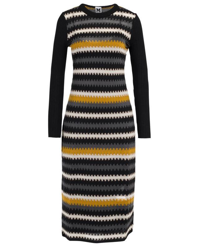 Fine knit sheath dress with zigzag lines M MISSONI