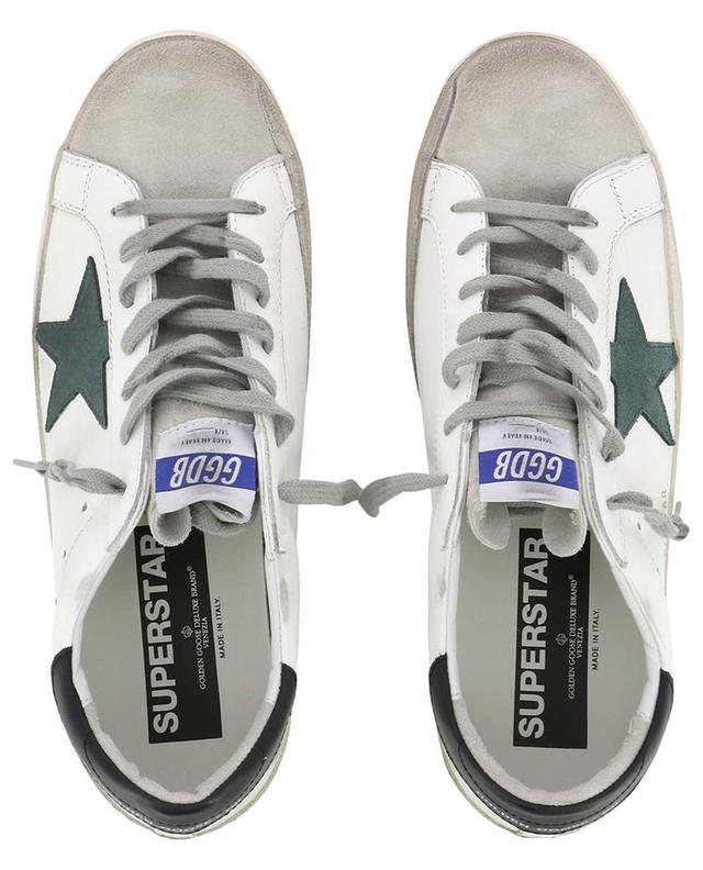 Baskets blanches en cuir avec étoile verte Superstar GOLDEN GOOSE