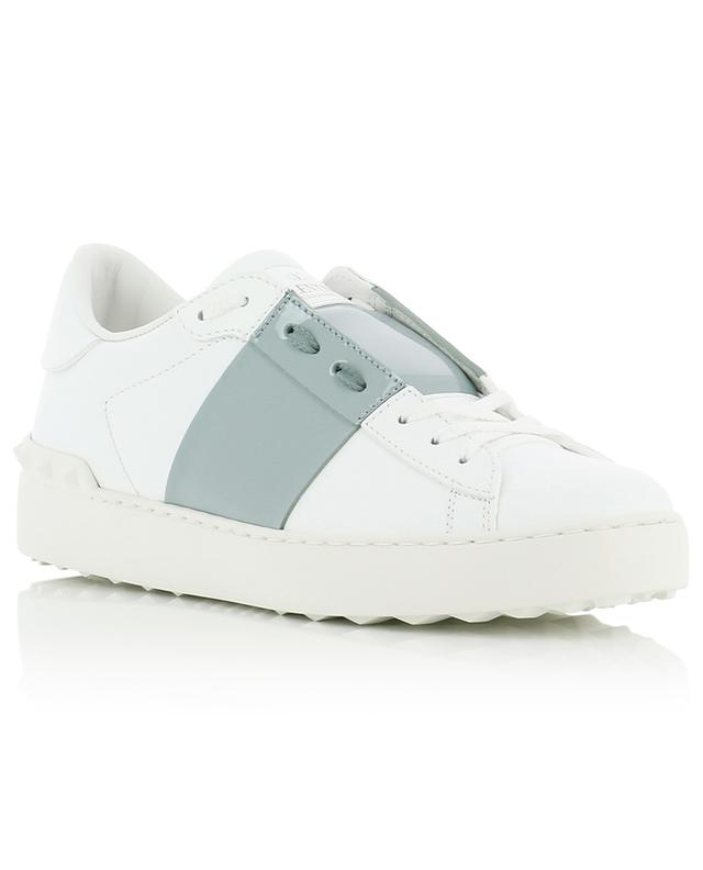 Open smooth leather sneakers with patent leather band VALENTINO