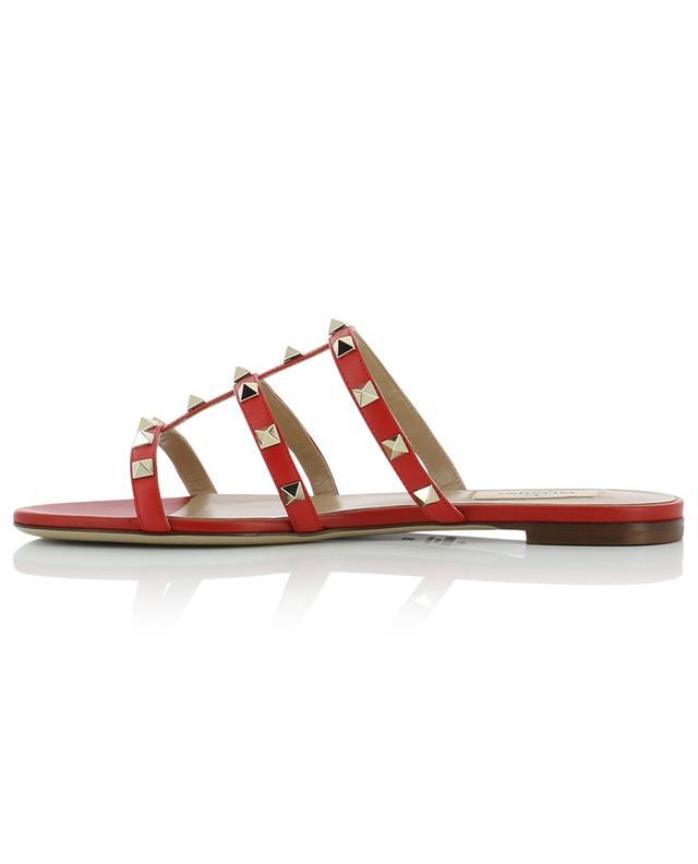 Rockstud flat leather sandal slides VALENTINO