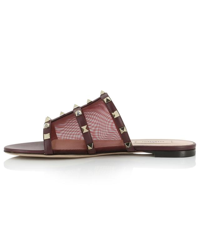 Rockstud flat leather and net slide sandals VALENTINO