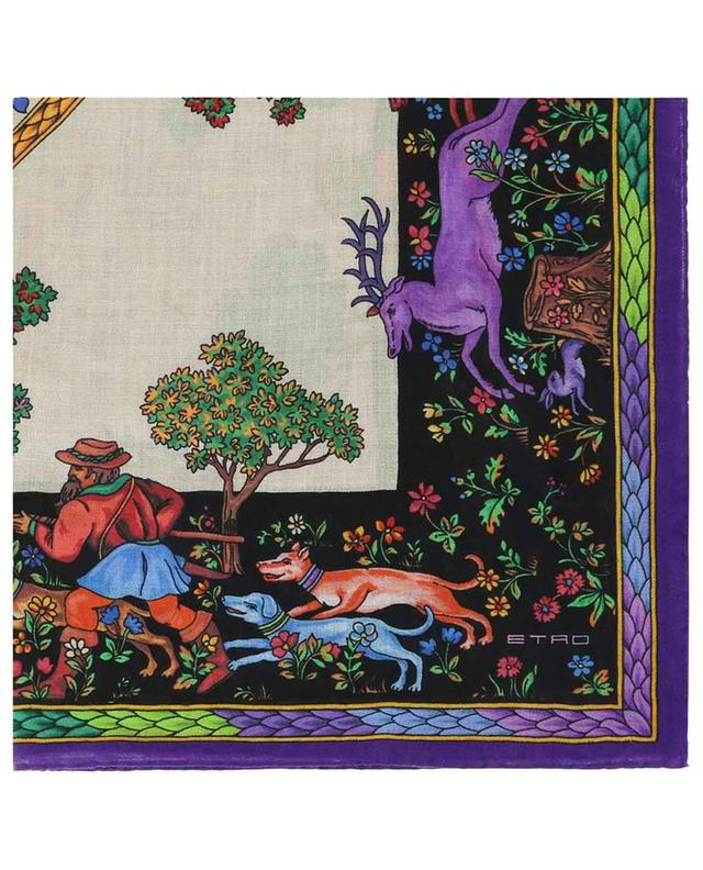 Foulard imprimé scènes de chasse Bombay ETRO