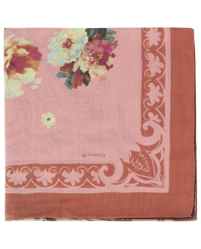 Foulard carré fleuri en laine et soie ETRO