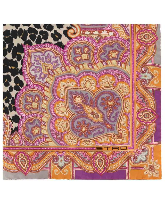 Carré en soie imprimé Paisley et léopard ETRO