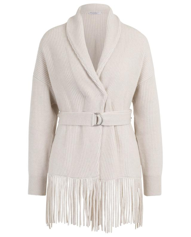 Cashmere cardigan with fringes BRUNELLO CUCINELLI