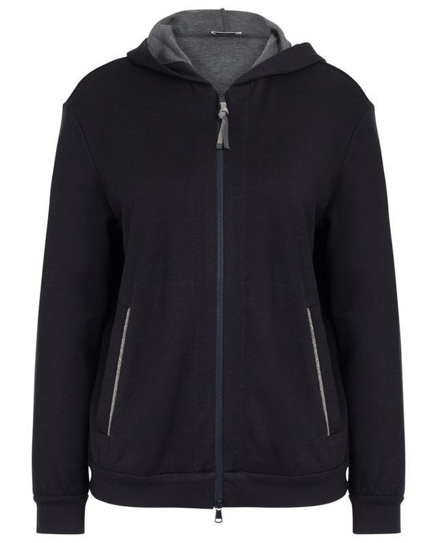 Monile embroidered cotton and silk sweat jacket BRUNELLO CUCINELLI
