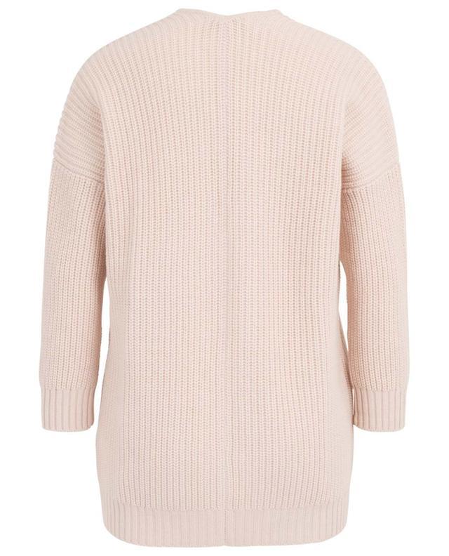 Cardigan en laine côtelée épais à col V avec crochet HEMISPHERE