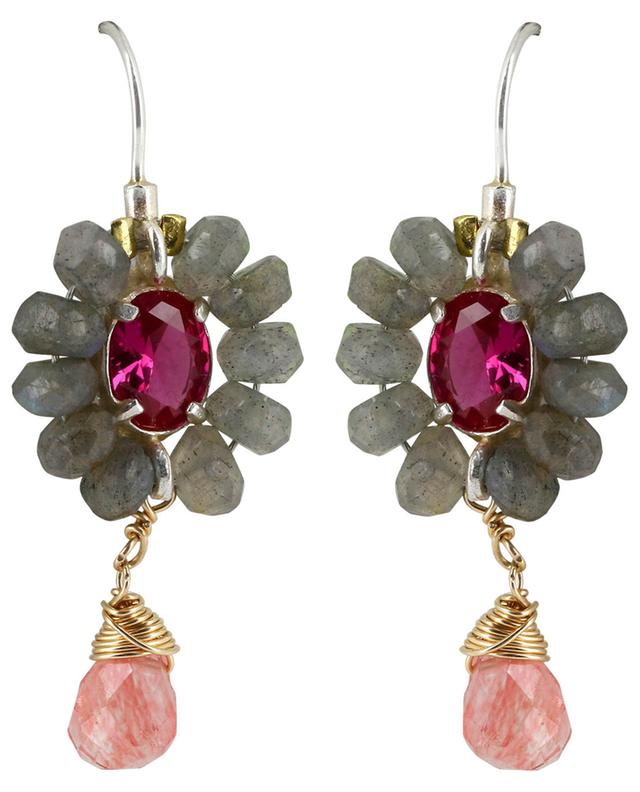 Flower labradorite, crystal and quartz earrings OTTOMANIA