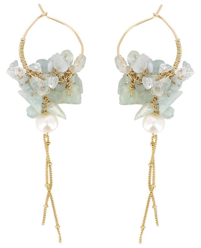 Gipsy aquamarine and pearl earrings OTTOMANIA