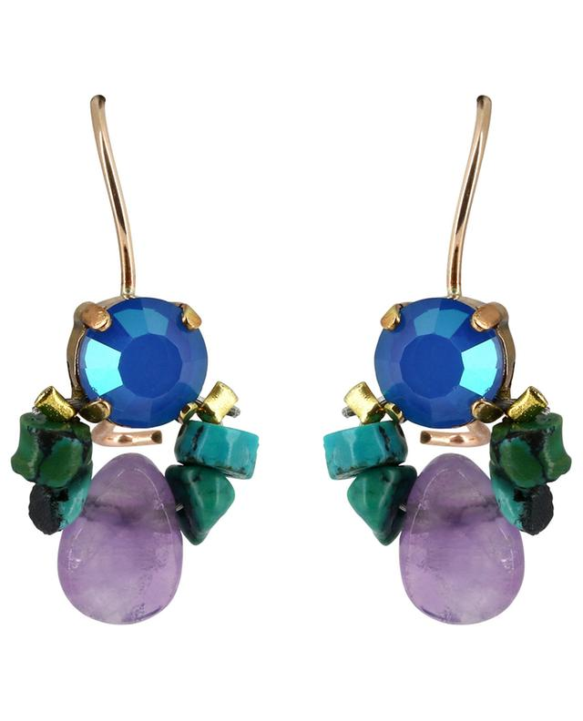 Bee amethyst, crystal and turquoise earrings OTTOMANIA