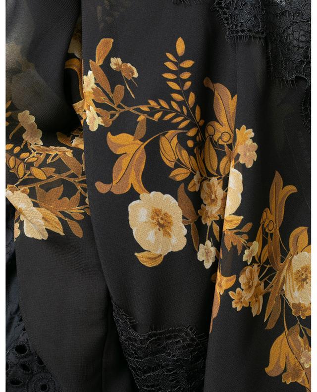 Robe longe plissée fleurie ornée de dentelle TWINSET