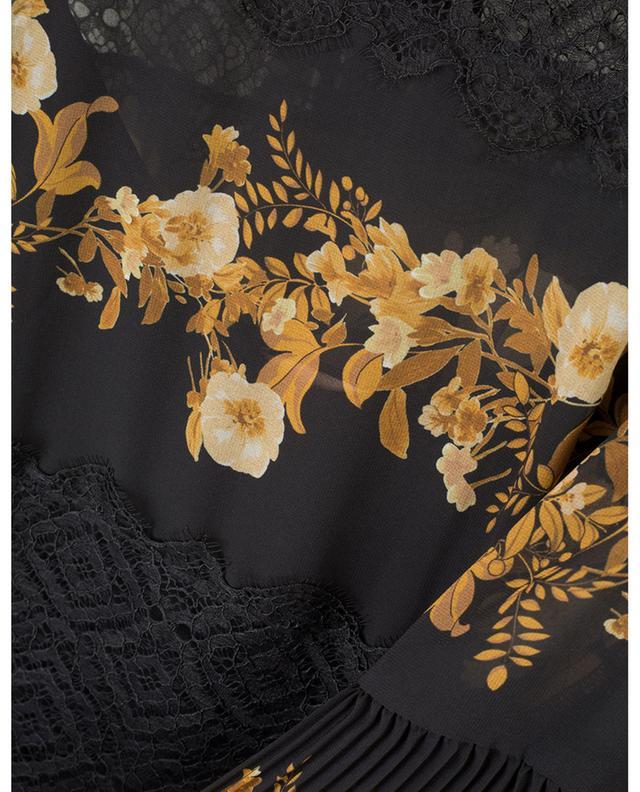 Robe courte plissée fleurie ornée de dentelle TWINSET