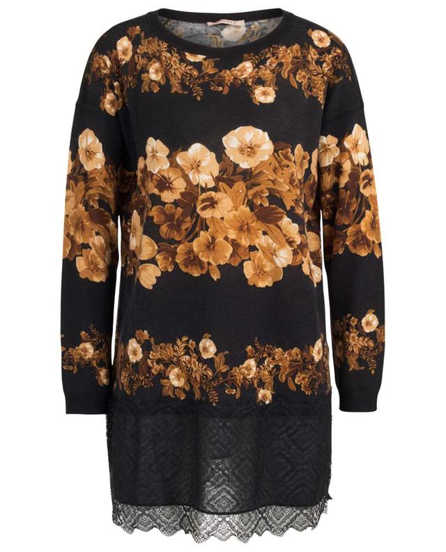 Floral print and lace adorned fine wool jumper TWINSET