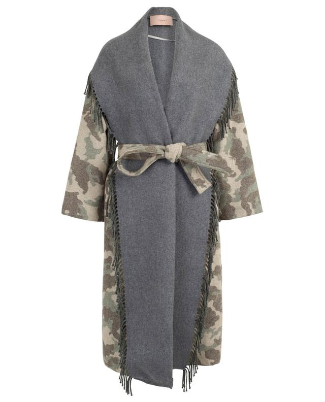 Camouflage print coat with fringes TWINSET