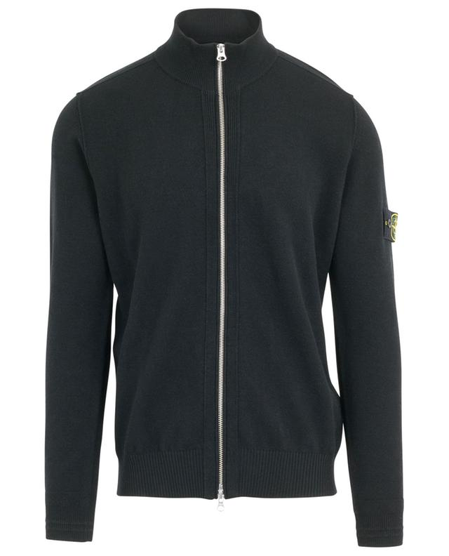 Zippered wool blend knit cardigan with stand-up collar STONE ISLAND